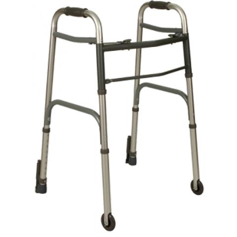 Deambulatore due ruote fisse e due puntali con sistema d bloccggio pieghevole