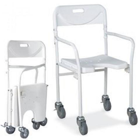 Sedia doccia pieghevole per anziani e disabili for Sedia a rotelle ruote piccole