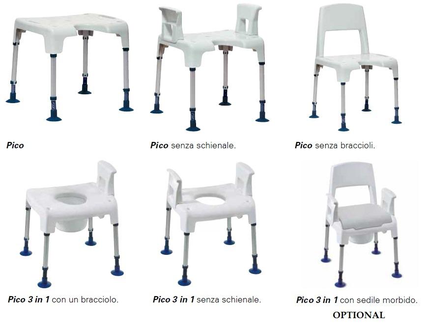 Sedia per doccia e wc per anziani e disabili